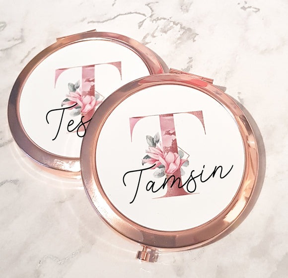 Rose Gold Magnolia Initial Compact Mirror