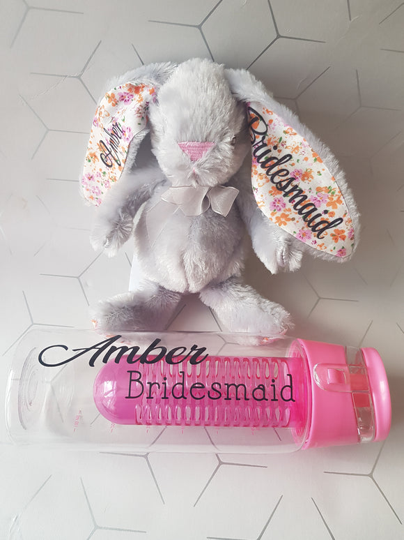 Personalised Wedding Bunny & Water Bottle Set