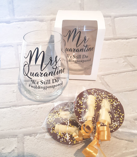 Mr. & Mrs. Quarantine Wedding Postponed Stemless Wine Glasses