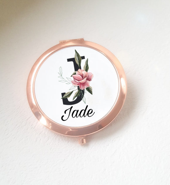 Magnolia Black Initial And Name Compact Mirror