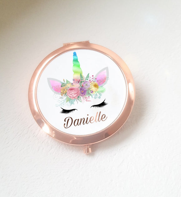 Rose Gold Unicorn Compact Mirror