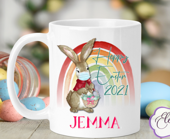 Rabbit Rainbow Lockdown 2021 Easter Ceramic Mug