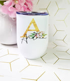 Gold Initial Flower Wine Tumbler