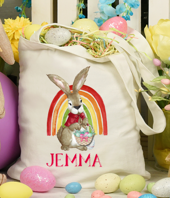 Easter Rabbit Rainbow Tote Bag