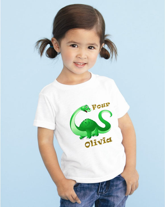 Children's Glitter Dinosaur Birthday T-Shirt