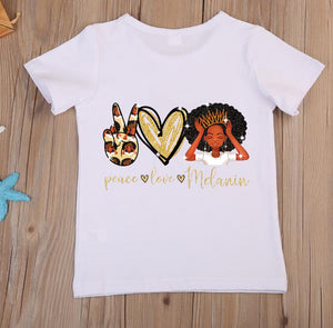 Children's Peace Love and Melanin T-Shirt