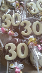 Large Round Chocolate Double Digit Number Lollies