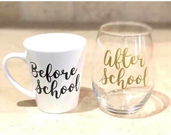 Before and After School Mug and Wine Glass Set