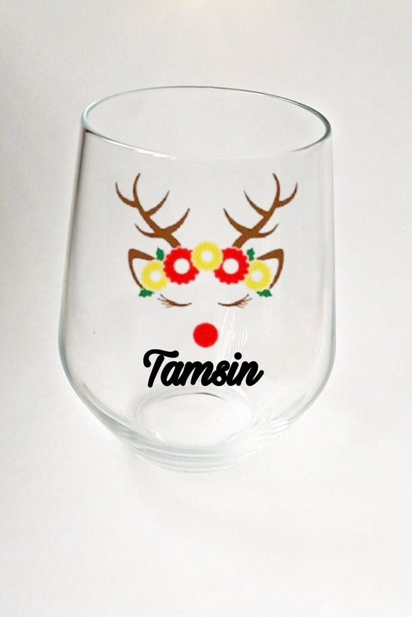 Personalised Reindeer Stemless Wine Glass