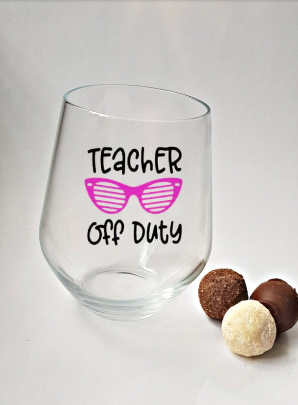 Off Duty Stemless Wine Glass and Chocolates