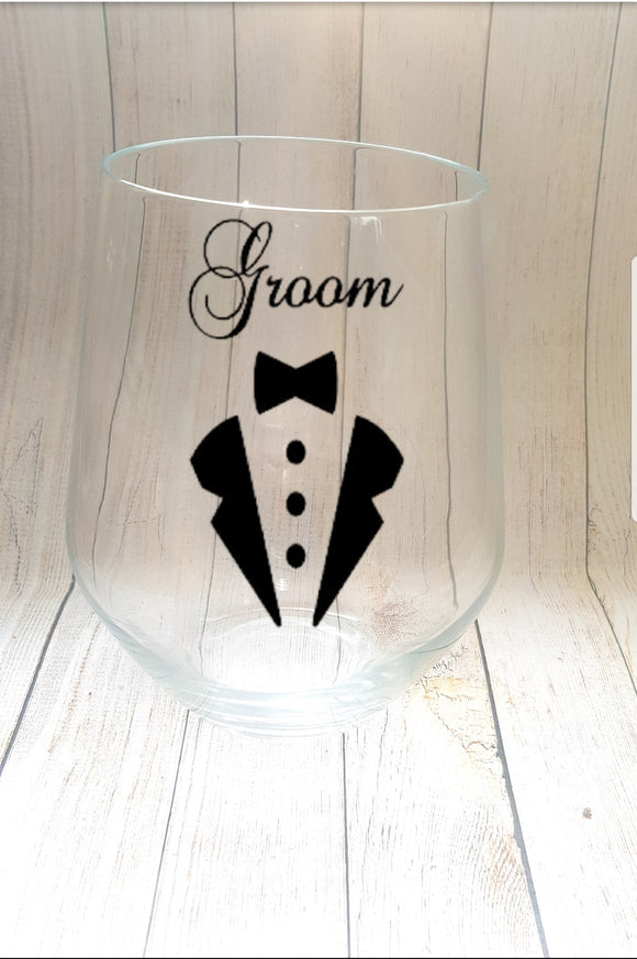 Groomsmen Stemless Wine Glass