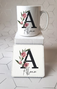 Magnolia Black Initial Mug and Coaster