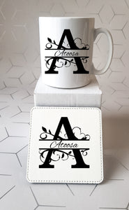 Split Initial Mug and Coaster