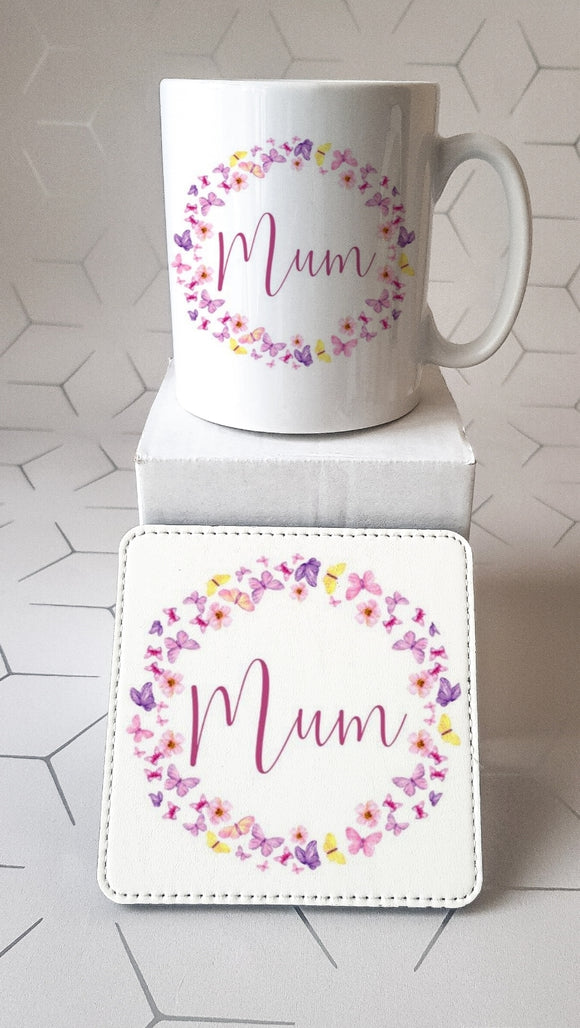 Mum Butterfly Mug and Coaster