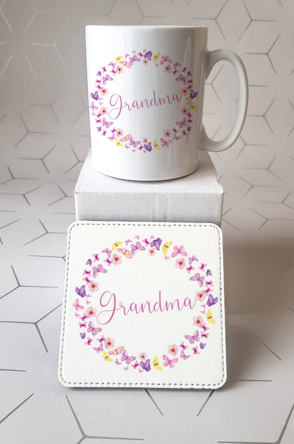 Grandma Butterfly Mug and Coaster