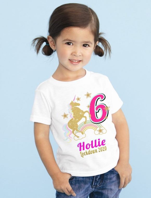 Children's Unicorn Lockdown Birthday T-Shirt