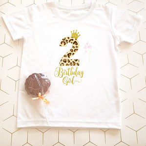 Leopard Number Children's Birthday T-Shirt