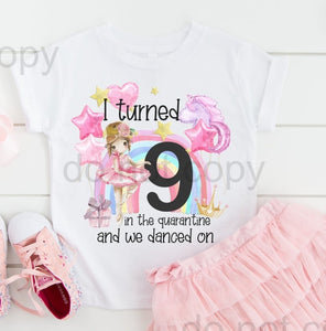 Children's Ballerina Quarantine Birthday T-Shirt