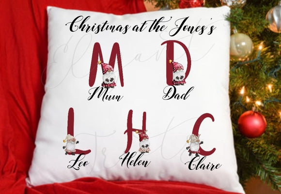 Personalised Family Red Gnome Cushion