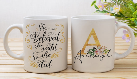 She Believed She Could So She Did Personalised Mug