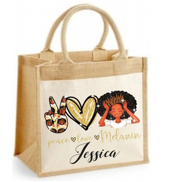 Peace Love Melanin Personalised Jute Bag