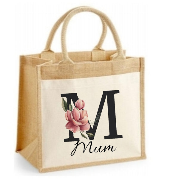 Personalised Black Floral Initial Jute Bag