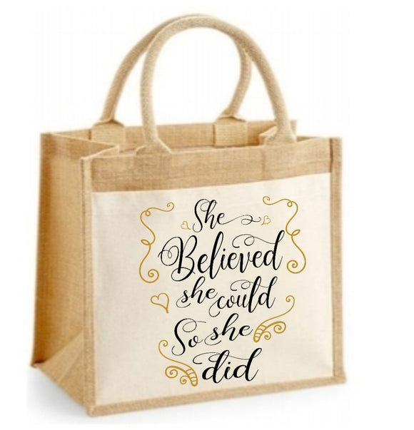 She Believed She Could So She Did Personalised Jute Bag