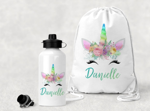 Personalised Unicorn P.E Bag And Water Bottle Set