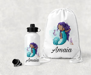 Personalised Mermaid P.E Bag And Water Bottle Set