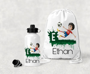 Personalised Football P.E Bag And Water Bottle Set