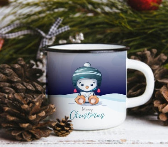 Personalised Enamel Penguin Mug