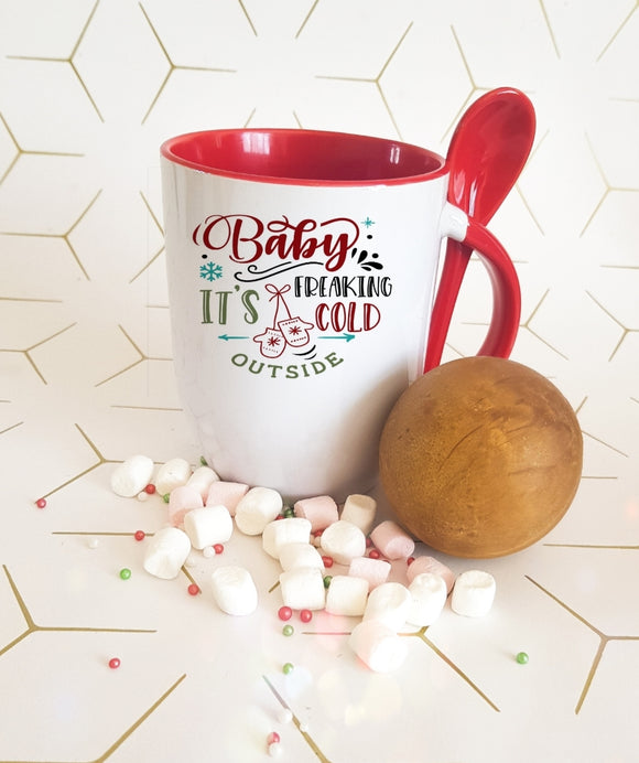 Funny Christmas Hot Chocolate Mug and Spoon