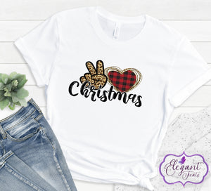 Adult Love Peace Christmas T-Shirt