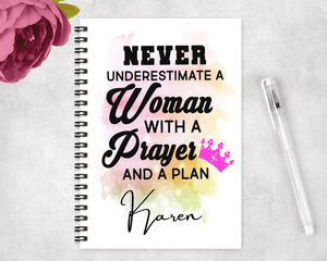 Woman With A Prayer and Plan Notebook