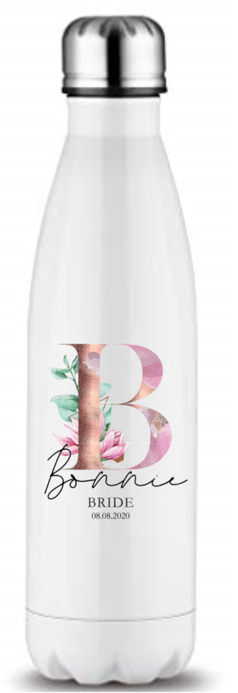 Magnolia Initial And Role Printed Bottle Flask