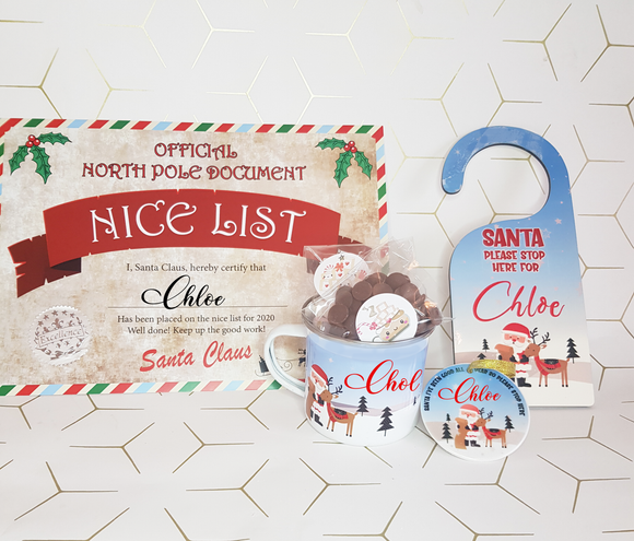 Santa Stop Here Sign and mug Children Gift Set