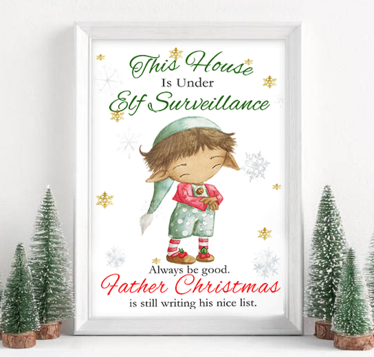 Personalised Elf Surveillance Christmas Print
