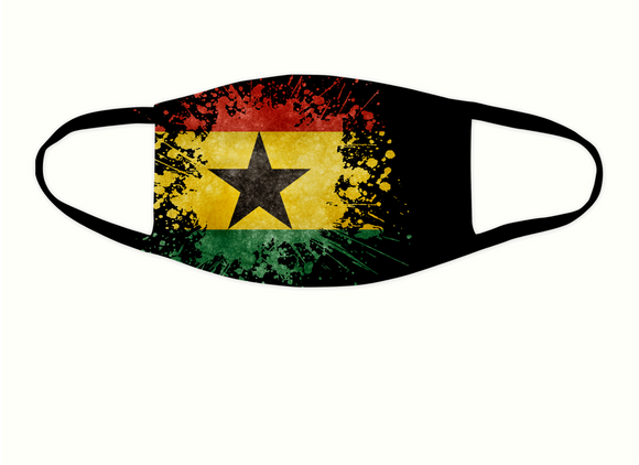 Ghanaian Flag Splash Face Covering