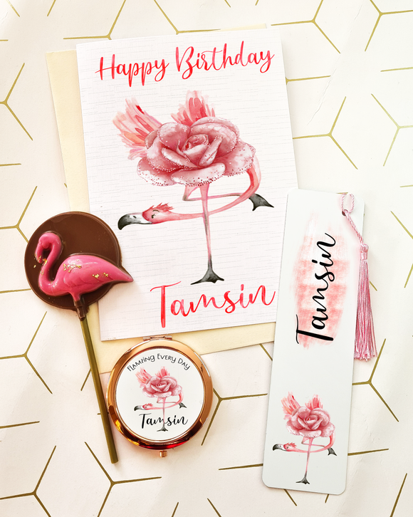 Flamingo Birthday Card Letterbox Gift