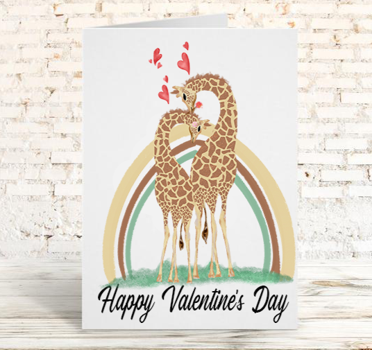 Giraffe Couple Greeting Card