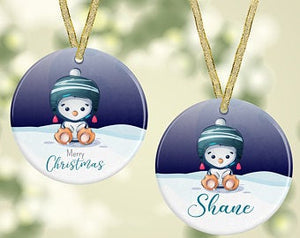 Ceramic Penguin Christmas Decoration