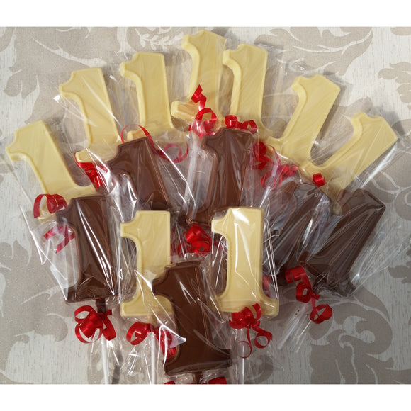 Number 1 First Birthday Chocolate Lollipops
