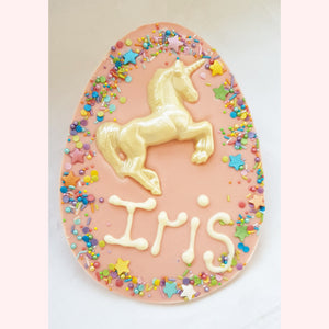 Personalised Unicorn Chocolate Egg Plaque