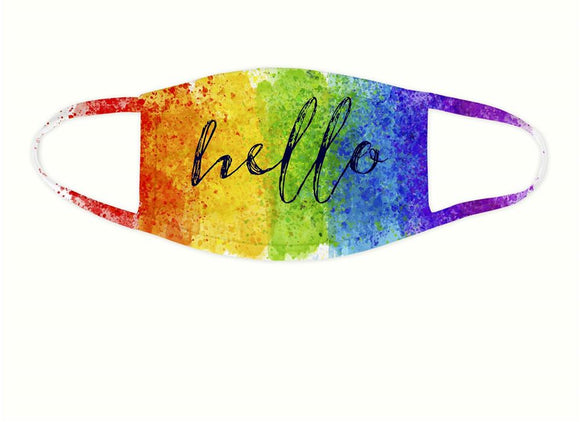 Rainbow Hello Face Covering