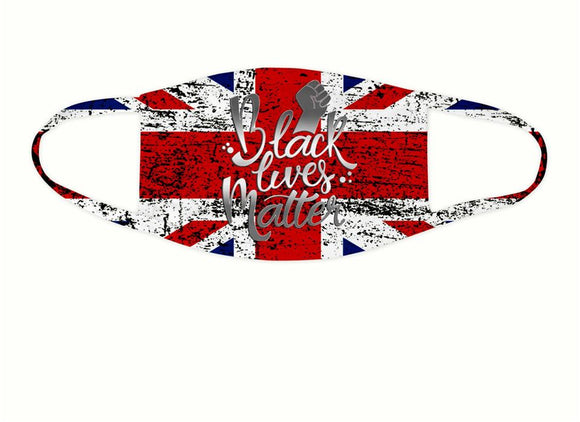 Black Lives Matter Union Jack Flag Splash Face Covering