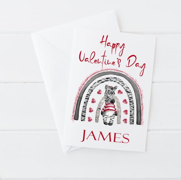 Zebra Happy Valentine's Day Card