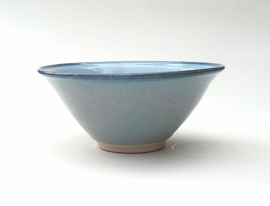 Hand thrown soup/breakfast bowls. Blue aurora.