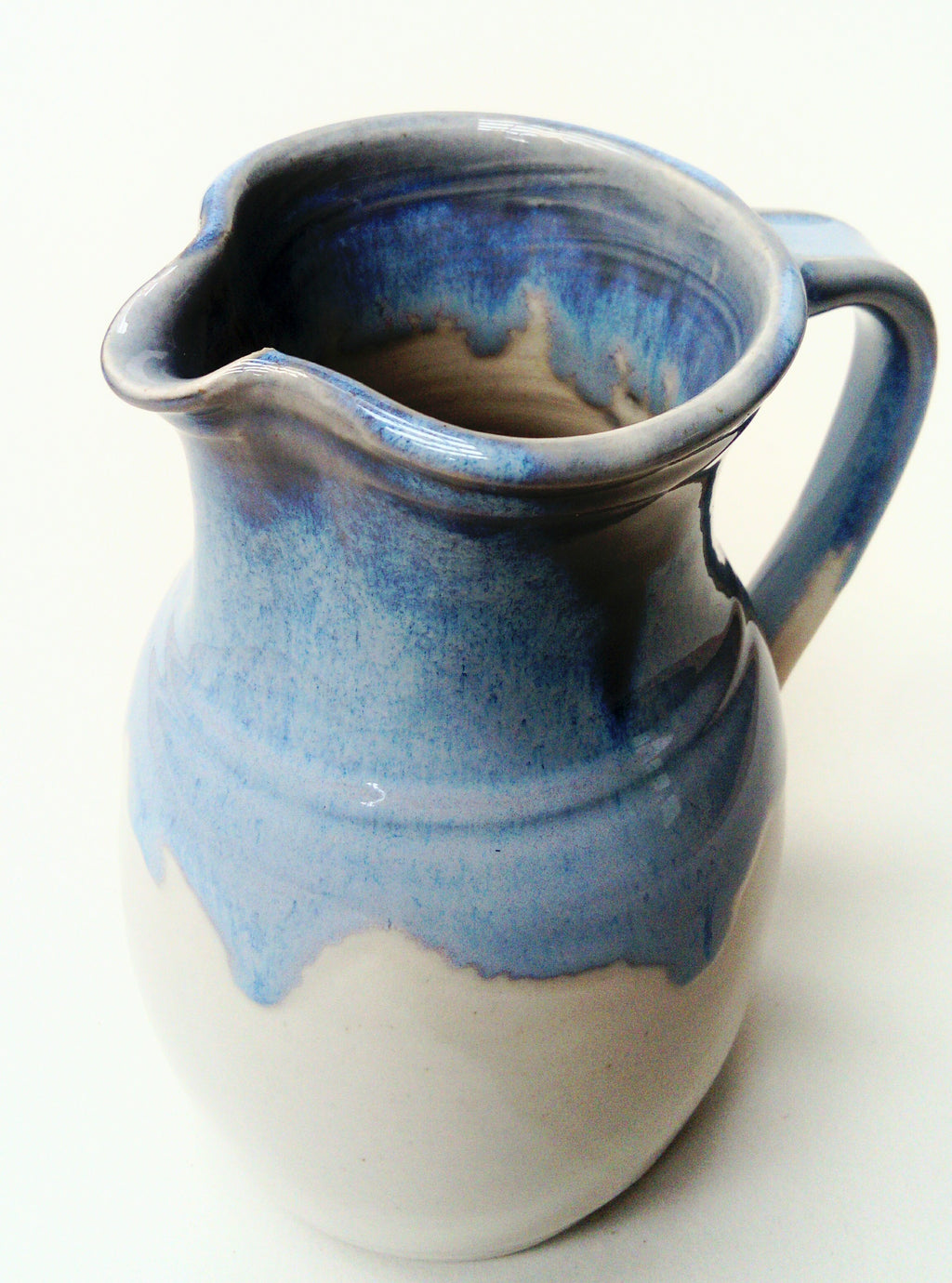 Large jug, blue and white stoneware glaze range.