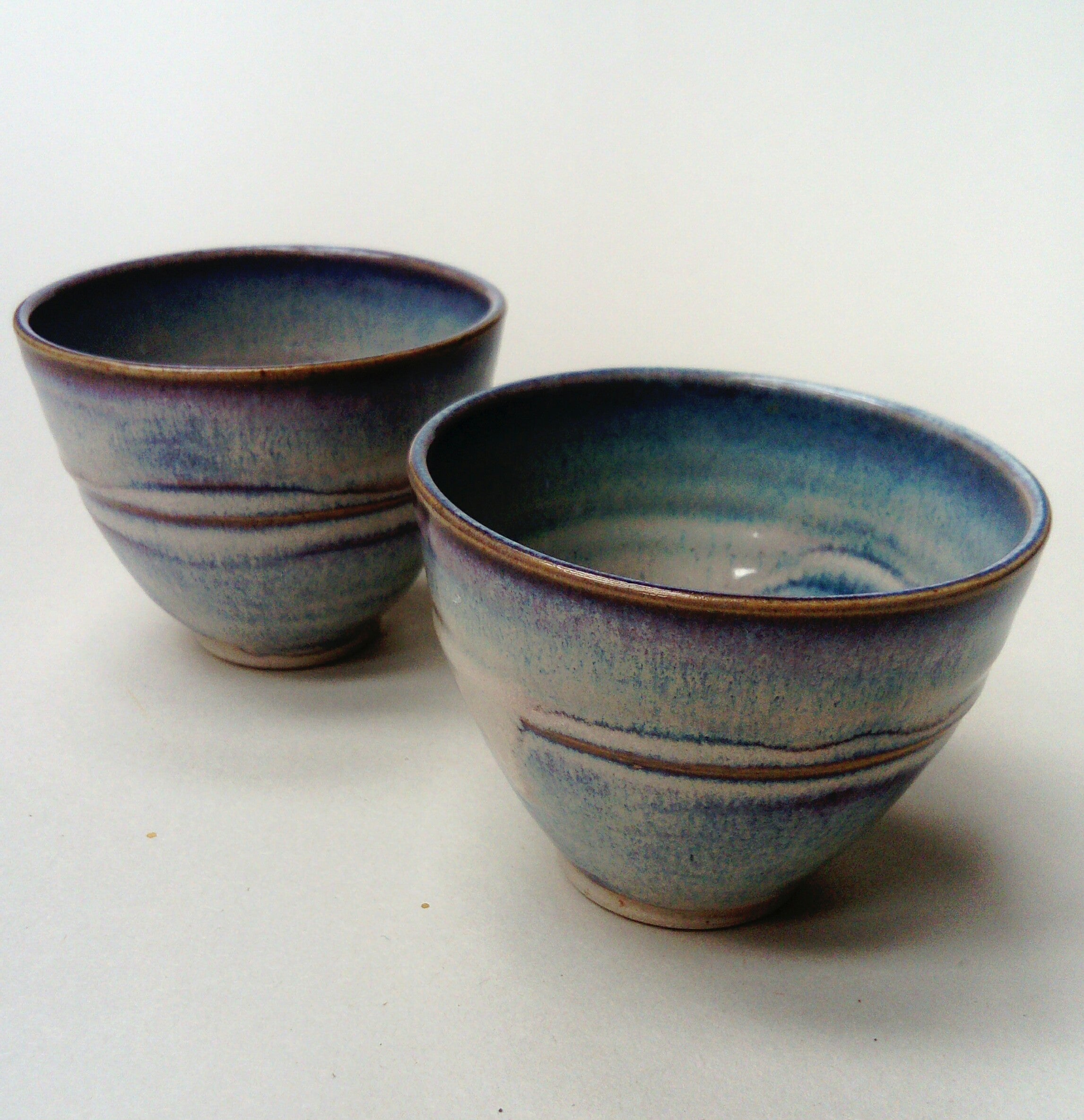 Tea bowls, sunset strand glaze range.