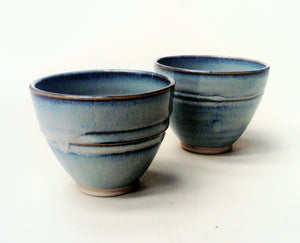 Set of two tea bowls, blue aurora stoneware glaze range.